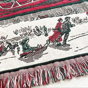 Vintage GOODWIN WEAVERS Woven Tapestry Throw Blanket Winter Ice Skating